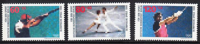 BERLIN 1988 Michel-Nummer 801-803 postfrisch SATZ(3) EINZELMARKEN - Sporthilfe: Olympische Winterspiele, Calgary / Olympische Sommerspiele, Seoul 0