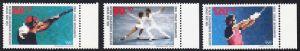 BERLIN 1988 Michel-Nummer 801-803 postfrisch SATZ(3) EINZELMARKEN RÄNDER rechts - Sporthilfe: Olympische Winterspiele, Calgary / Olympische Sommerspiele, Seoul