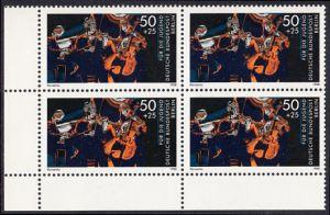 BERLIN 1988 Michel-Nummer 807 postfrisch BLOCK ECKRAND unten links - Wettbewerb Jugend musiziert: Klaviertrio
