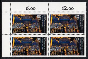 BERLIN 1988 Michel-Nummer 810 postfrisch BLOCK ECKRAND oben links - Wettbewerb Jugend musiziert: Kinderchor