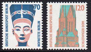 BERLIN 1988 Michel-Nummer 814-815 postfrisch SATZ(2) EINZELMARKEN - Sehenswürdigkeiten: Nofretete-Büste, Berlin / St.-Petri-Dom, Schleswig