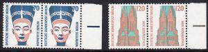 BERLIN 1988 Michel-Nummer 814-815 postfrisch SATZ(2) horiz.PAARE RÄNDER rechts - Sehenswürdigkeiten: Nofretete-Büste, Berlin / St.-Petri-Dom, Schleswig