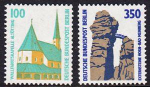 BERLIN 1989 Michel-Nummer 834-835 postfrisch SATZ(2) EINZELMARKEN - Sehenswürdigkeiten: Wallfahrtskapelle, Altötting / Externsteine, Horn-Bad Meinberg