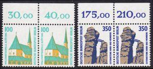 BERLIN 1989 Michel-Nummer 834-835 postfrisch SATZ(2) horiz.PAARE RÄNDER oben - Sehenswürdigkeiten: Wallfahrtskapelle, Altötting / Externsteine, Horn-Bad Meinberg