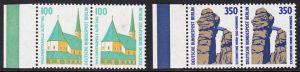 BERLIN 1989 Michel-Nummer 834-835 postfrisch SATZ(2) horiz.PAARE RÄNDER links - Sehenswürdigkeiten: Wallfahrtskapelle, Altötting / Externsteine, Horn-Bad Meinberg