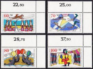 BERLIN 1989 Michel-Nummer 838-841 postfrisch SATZ(4) EINZELMARKEN ECKRÄNDER oben rechts - Zirkus