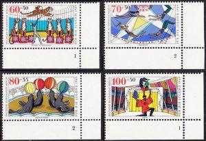 BERLIN 1989 Michel-Nummer 838-841 postfrisch SATZ(4) EINZELMARKEN ECKRÄNDER unten rechts (FN/a) - Zirkus