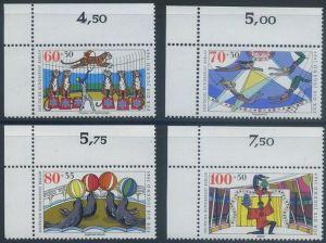 BERLIN 1989 Michel-Nummer 838-841 postfrisch SATZ(4) EINZELMARKEN ECKRÄNDER oben links - Zirkus