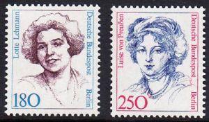 BERLIN 1989 Michel-Nummer 844-845 postfrisch SATZ(2) EINZELMARKEN - Frauen der deutschen Geschichte: Lotte Lehmann, Sangerin / Luise von Preußen, Königin von Preußen