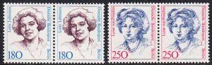 BERLIN 1989 Michel-Nummer 844-845 postfrisch SATZ(2) horiz.PAARE - Frauen der deutschen Geschichte: Lotte Lehmann, Sangerin / Luise von Preußen, Königin von Preußen