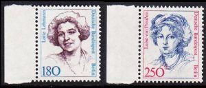 BERLIN 1989 Michel-Nummer 844-845 postfrisch SATZ(2) EINZELMARKEN RÄNDER links (a) - Frauen der deutschen Geschichte: Lotte Lehmann, Sangerin / Luise von Preußen, Königin von Preußen