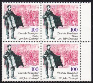 BERLIN 1990 Michel-Nummer 872 postfrisch BLOCK RÄNDER rechts - 200 Jahre Drehorgel