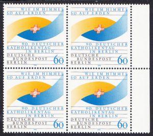 BERLIN 1990 Michel-Nummer 873 postfrisch BLOCK RÄNDER rechts - Deutscher Katholikentag, Berlin
