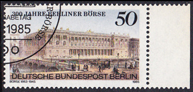 BERLIN 1985 Michel-Nummer 740 gestempelt EINZELMARKE RAND rechts