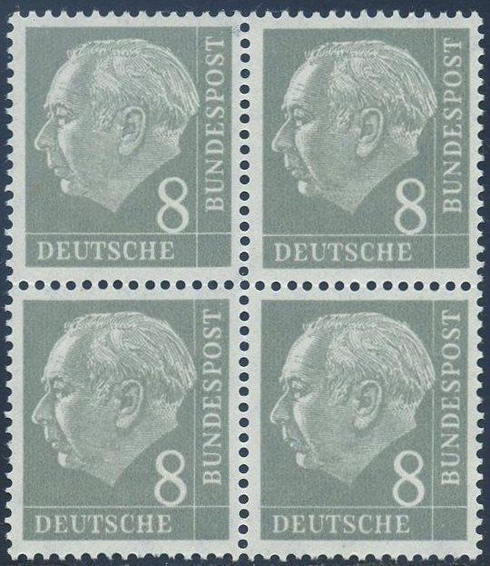 BUND 1954 Michel-Nummer 0182 postfrisch BLOCK