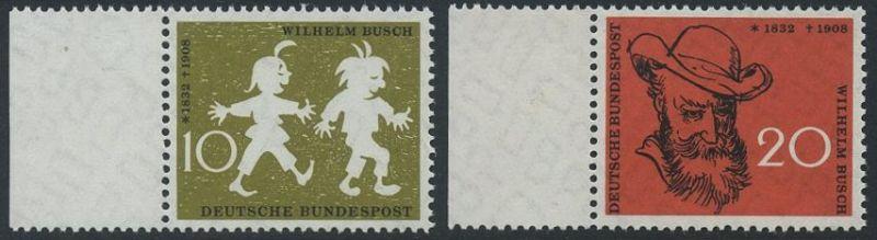 BUND 1958 Michel-Nummer 0281-0282 postfrisch SATZ(2) EINZELMARKEN RÄNDER links