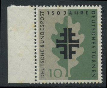BUND 1958 Michel-Nummer 0292 postfrisch EINZELMARKE RAND links