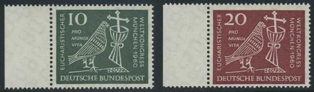 BUND 1960 Michel-Nummer 0330-0331 postfrisch SATZ(2) EINZELMARKEN RÄNDER links