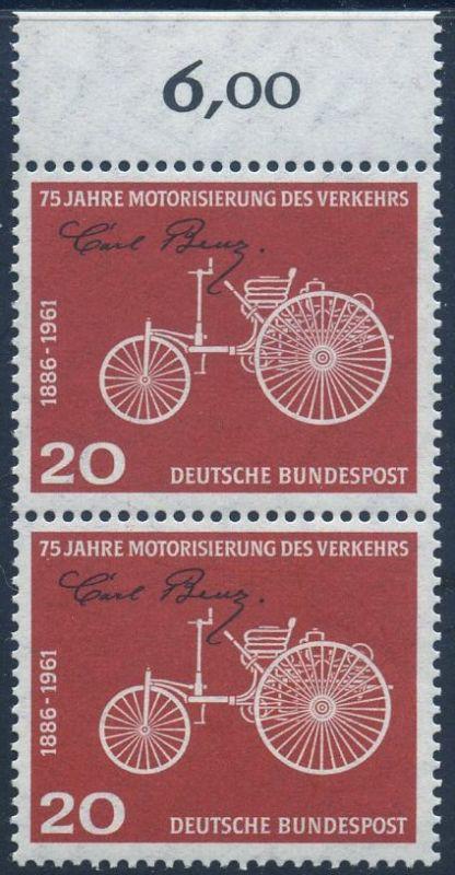 BUND 1961 Michel-Nummer 0364 postfrisch vert.PAAR RAND oben