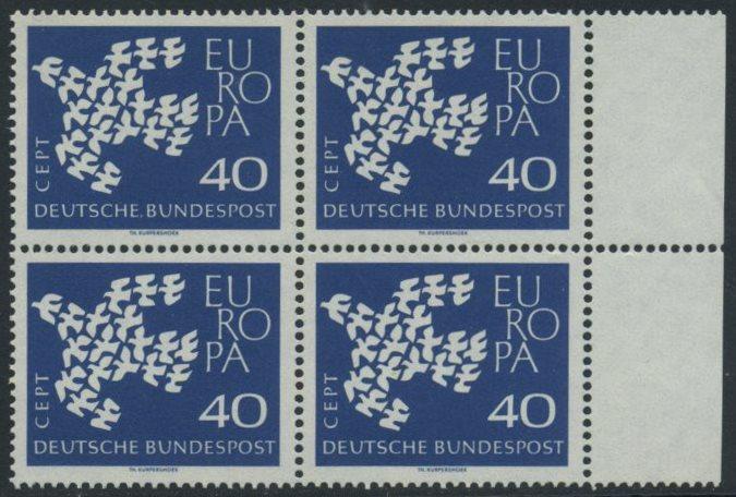 BUND 1961 Michel-Nummer 0368 postfrisch BLOCK RÄNDER rechts