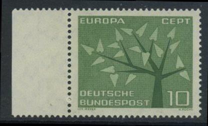 BUND 1962 Michel-Nummer 0383 postfrisch EINZELMARKE RAND links