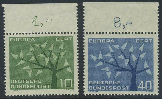 BUND 1962 Michel-Nummer 0383-0384 postfrisch SATZ(2) EINZELMARKEN RÄNDER oben