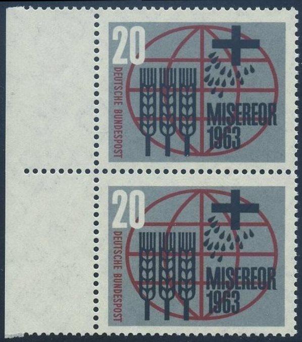 BUND 1963 Michel-Nummer 0391 postfrisch vert.PAAR RAND links