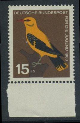 BUND 1963 Michel-Nummer 0402 postfrisch EINZELMARKE RAND unten