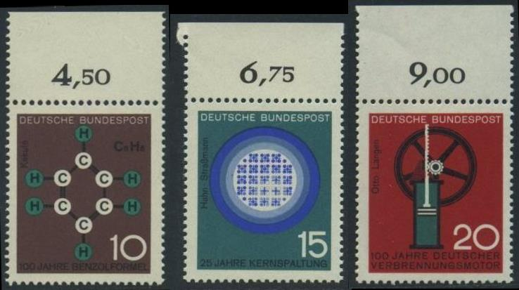BUND 1964 Michel-Nummer 0440-0442 postfrisch SATZ(3) EINZELMARKEN RÄNDER oben (c)