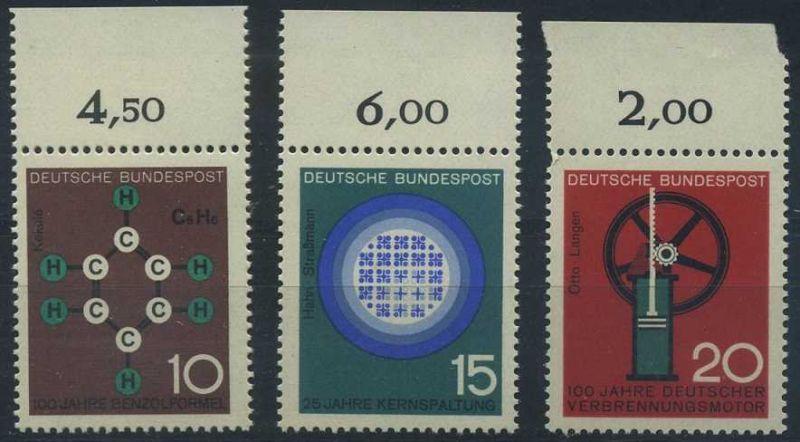 BUND 1964 Michel-Nummer 0440-0442 postfrisch SATZ(3) EINZELMARKEN RÄNDER oben (e)