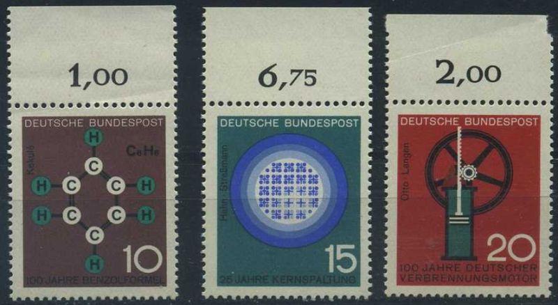 BUND 1964 Michel-Nummer 0440-0442 postfrisch SATZ(3) EINZELMARKEN RÄNDER oben (f)