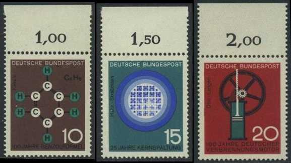 BUND 1964 Michel-Nummer 0440-0442 postfrisch SATZ(3) EINZELMARKEN RÄNDER oben (d)