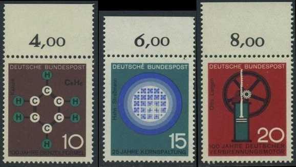 BUND 1964 Michel-Nummer 0440-0442 postfrisch SATZ(3) EINZELMARKEN RÄNDER oben (b)