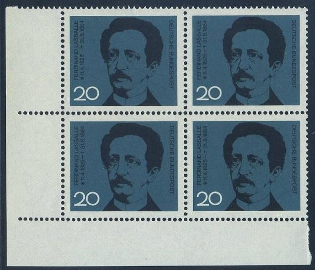 BUND 1964 Michel-Nummer 0443 postfrisch BLOCK ECKRAND unten links