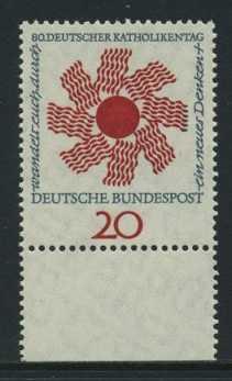 BUND 1964 Michel-Nummer 0444 postfrisch EINZELMARKE RAND unten