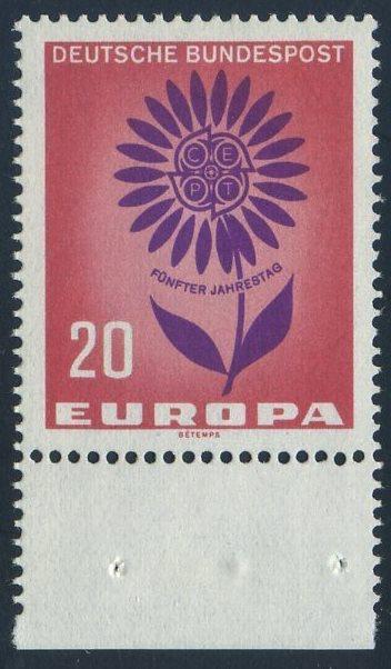 BUND 1964 Michel-Nummer 0446 postfrisch EINZELMARKE RAND unten