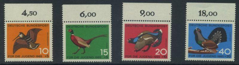 BUND 1965 Michel-Nummer 0464-0467 postfrisch SATZ(4) EINZELMARKEN RÄNDER oben (a)