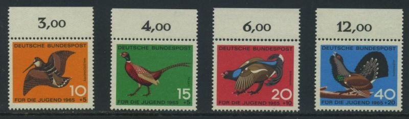 BUND 1965 Michel-Nummer 0464-0467 postfrisch SATZ(4) EINZELMARKEN RÄNDER oben (b)