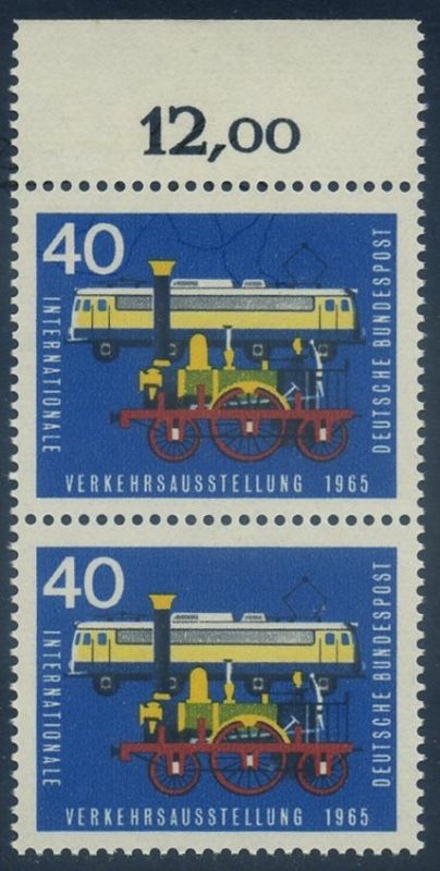 BUND 1965 Michel-Nummer 0472 postfrisch vert.PAAR RAND oben