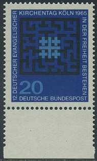 BUND 1965 Michel-Nummer 0480 postfrisch EINZELMARKE RAND unten