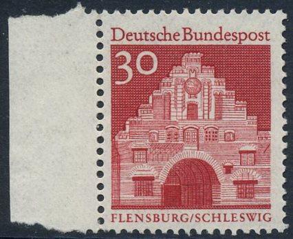 BUND 1966 Michel-Nummer 0493 postfrisch EINZELMARKE RAND links