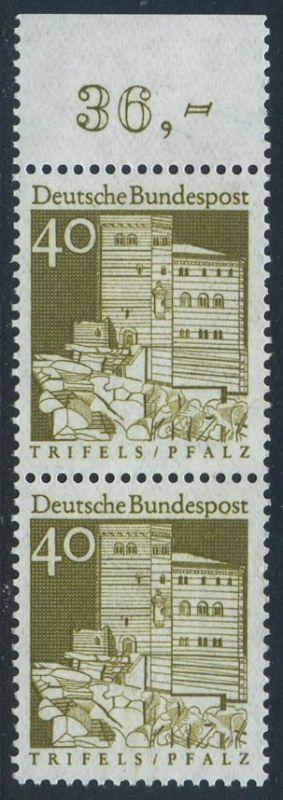 BUND 1966 Michel-Nummer 0494 postfrisch vert.PAAR RAND oben