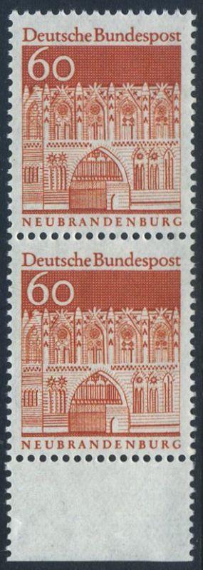 BUND 1966 Michel-Nummer 0496 postfrisch vert.PAAR RAND unten