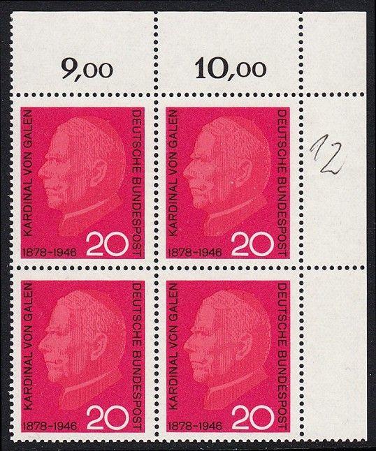 BUND 1966 Michel-Nummer 0505 postfrisch BLOCK ECKRAND oben rechts
