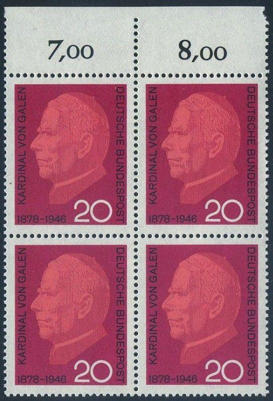 BUND 1966 Michel-Nummer 0505 postfrisch BLOCK RÄNDER oben