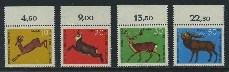 BUND 1966 Michel-Nummer 0511-0514 postfrisch SATZ(4) EINZELMARKEN RÄNDER oben (a)