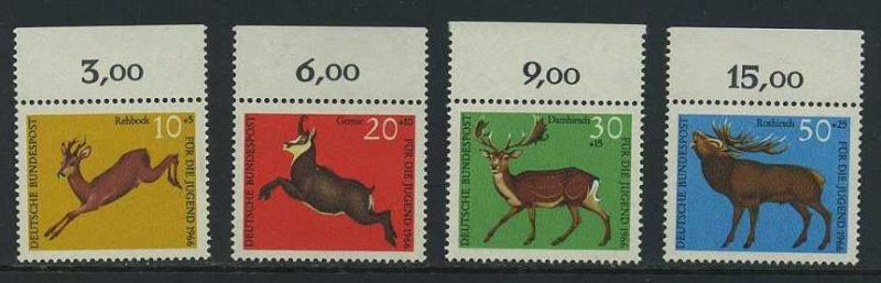BUND 1966 Michel-Nummer 0511-0514 postfrisch SATZ(4) EINZELMARKEN RÄNDER oben (c)