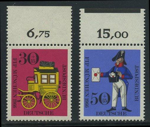 BUND 1966 Michel-Nummer 0516-0517 postfrisch SATZ(2) EINZELMARKEN RÄNDER oben
