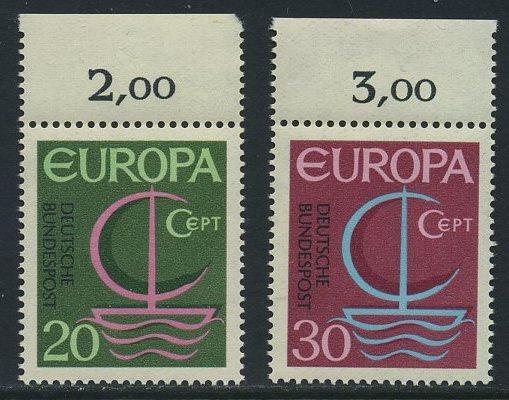 BUND 1966 Michel-Nummer 0519-0520 postfrisch SATZ(2) EINZELMARKEN RÄNDER oben (a)