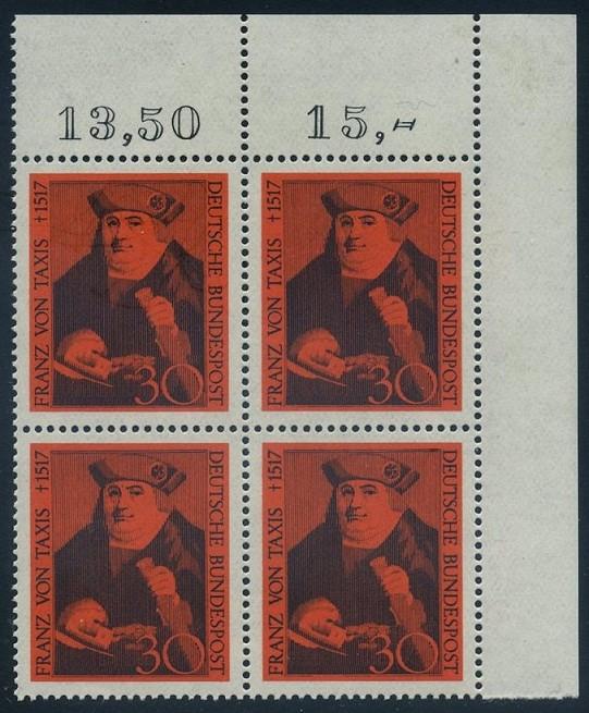 BUND 1967 Michel-Nummer 0535 postfrisch BLOCK ECKRAND oben rechts